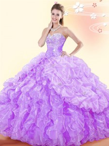Floor Length Lavender Sweet 16 Dress Organza Sleeveless Beading and Ruffles and Pick Ups