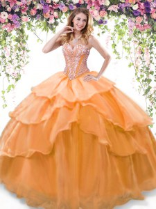Wonderful Orange Organza Lace Up Sweet 16 Quinceanera Dress Sleeveless Floor Length Beading and Ruffled Layers