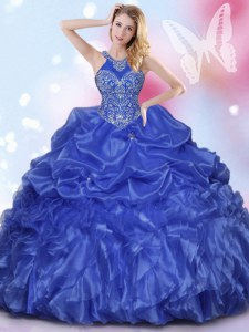 Elegant Halter Top Sleeveless Floor Length Appliques and Ruffles and Pick Ups Lace Up Quinceanera Gown with Royal Blue