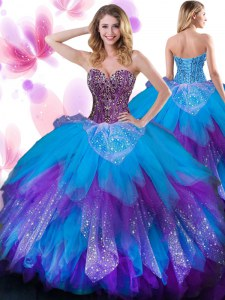 Custom Fit Beading and Ruffled Layers Quinceanera Dress Multi-color Lace Up Sleeveless Floor Length