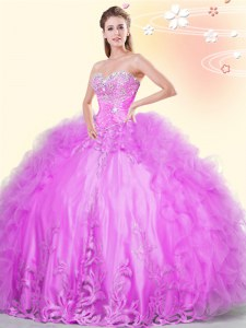 Ball Gowns Sweet 16 Dresses Lilac Sweetheart Tulle Sleeveless Asymmetrical Lace Up