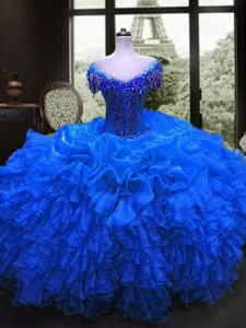 Royal Blue Organza Lace Up 15th Birthday Dress Cap Sleeves Floor Length Beading and Ruffles