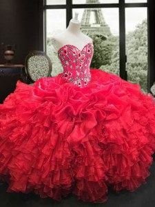 Custom Fit Red Sweetheart Neckline Embroidery and Ruffles Quinceanera Gown Sleeveless Lace Up