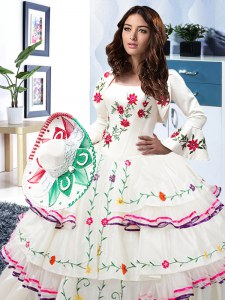 Eye-catching Floor Length Lace Up Quinceanera Gowns White for Military Ball and Sweet 16 and Quinceanera with Embroidery and Ruffled Layers