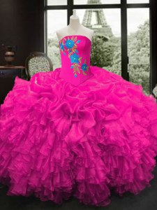 Hot Sale Strapless Sleeveless Sweet 16 Dresses Floor Length Embroidery and Ruffles Fuchsia Organza