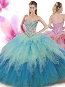 Ball Gowns 15 Quinceanera Dress Multi-color Sweetheart Tulle Sleeveless Floor Length Lace Up