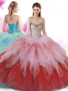 Dynamic Floor Length Multi-color Quinceanera Dress Sweetheart Sleeveless Lace Up