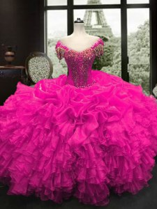 Fuchsia Cap Sleeves Floor Length Beading and Ruffles Lace Up 15 Quinceanera Dress