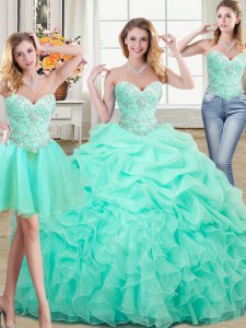 Attractive Three Piece Pick Ups Floor Length Ball Gowns Sleeveless Apple Green Ball Gown Prom Dress Lace Up