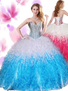 Simple Sweetheart Sleeveless Ball Gown Prom Dress Floor Length Beading and Ruffles Blue And White Organza