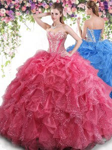 Delicate Organza Sweetheart Sleeveless Lace Up Beading and Ruffles Sweet 16 Dresses in Coral Red