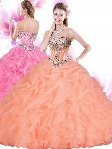 Floor Length Lace Up 15th Birthday Dress Orange Red for Military Ball and Sweet 16 and Quinceanera with Beading and Ruffles