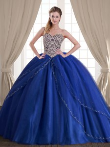 Latest Royal Blue Tulle Lace Up 15th Birthday Dress Sleeveless With Brush Train Beading