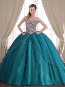 High Quality Sweetheart Sleeveless Brush Train Lace Up 15th Birthday Dress Teal Tulle