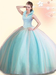 Affordable Backless High-neck Sleeveless Quince Ball Gowns Floor Length Beading Aqua Blue Tulle