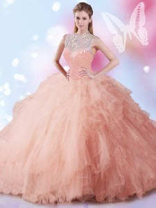 Floor Length Peach Quince Ball Gowns Tulle Sleeveless Beading and Ruffles and Sequins