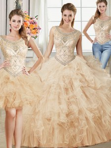 Beauteous Three Piece Scoop Champagne Sleeveless Floor Length Beading and Ruffles Lace Up Vestidos de Quinceanera