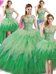 Modest Four Piece Scoop Sleeveless Tulle Ball Gown Prom Dress Beading and Ruffles Lace Up