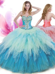 Multi-color Sleeveless Tulle Lace Up 15th Birthday Dress for Military Ball and Sweet 16 and Quinceanera