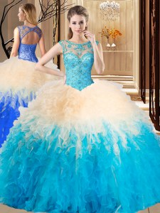 Scoop Floor Length Lace Up Sweet 16 Dresses Multi-color for Military Ball and Sweet 16 and Quinceanera with Beading