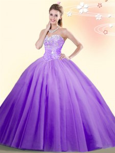 Low Price Tulle Sleeveless Floor Length Quinceanera Gown and Beading