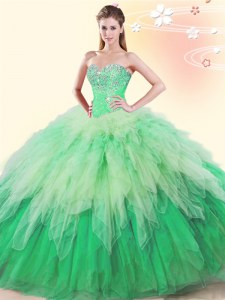 Colorful Multi-color Ball Gowns Sweetheart Sleeveless Tulle Floor Length Lace Up Beading and Ruffles 15th Birthday Dress