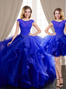 Three Piece Scoop Cap Sleeves With Train Beading and Appliques and Ruffles Lace Up Ball Gown Prom Dress with Royal Blue Brush Train