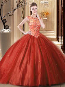 Wine Red Lace Up Scoop Beading Ball Gown Prom Dress Tulle Sleeveless Brush Train