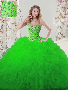 Delicate Ball Gowns Sweetheart Sleeveless Tulle Floor Length Lace Up Embroidery and Ruffles Quinceanera Dress