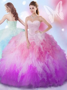 Luxury Multi-color Ball Gowns Tulle Sweetheart Sleeveless Beading and Ruffles Floor Length Lace Up Vestidos de Quinceanera