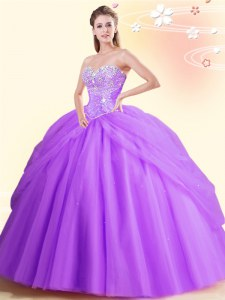 Stunning Lilac Tulle Lace Up Sweetheart Sleeveless Floor Length 15th Birthday Dress Beading