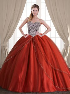 Beauteous Rust Red Ball Gowns Tulle Sweetheart Sleeveless Beading With Train Lace Up Quinceanera Dresses Brush Train