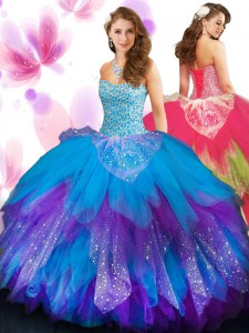Multi-color Quinceanera Gowns Military Ball and Sweet 16 and Quinceanera and For with Beading and Ruffled Layers Sweetheart Sleeveless Lace Up