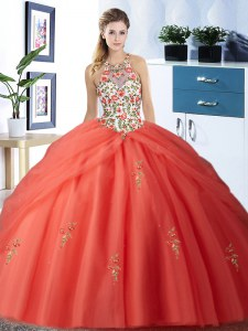 Pick Ups Floor Length Orange Red Vestidos de Quinceanera Halter Top Sleeveless Lace Up
