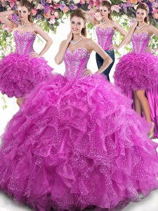Four Piece Fuchsia Quinceanera Dress Military Ball and Sweet 16 and Quinceanera and For with Beading and Ruffles Sweetheart Sleeveless Lace Up