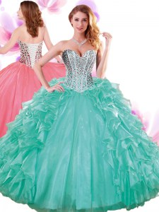 Adorable Organza Sleeveless Floor Length Vestidos de Quinceanera and Beading and Ruffles