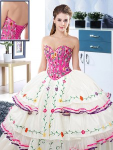 Stylish Sweetheart Sleeveless Organza and Taffeta Vestidos de Quinceanera Embroidery and Ruffled Layers Lace Up