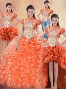 Four Piece Orange Red Ball Gowns Straps Sleeveless Organza With Brush Train Lace Up Beading and Ruffles Ball Gown Prom Dress