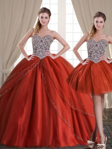 Three Piece Rust Red Sweetheart Neckline Beading Quinceanera Gowns Sleeveless Lace Up