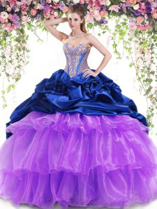 Exquisite Multi-color Organza and Taffeta Lace Up Sweetheart Sleeveless With Train Quinceanera Dresses Brush Train Beading and Ruffled Layers and Pick Ups