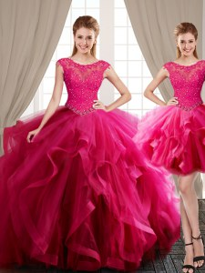 Three Piece Scoop Cap Sleeves Tulle Sweet 16 Quinceanera Dress Beading and Appliques and Ruffles Brush Train Lace Up