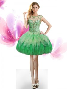 Decent Scoop Tulle Sleeveless Mini Length Prom Dress and Beading and Ruffles