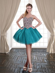 Teal Sleeveless Tulle Lace Up Prom Party Dress for Prom and Party