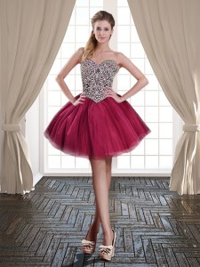 Mini Length Lace Up Prom Party Dress Burgundy for Prom and Party with Beading