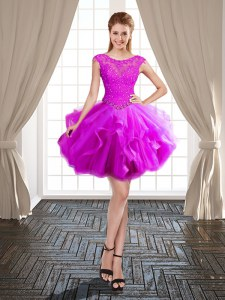 Inexpensive Scoop Fuchsia Lace Up Dress for Prom Beading and Ruffles Cap Sleeves Mini Length
