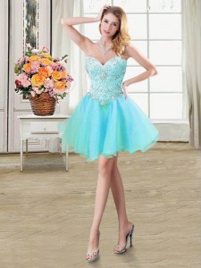 Colorful Mini Length Lace Up Prom Party Dress Aqua Blue for Prom and Party with Beading
