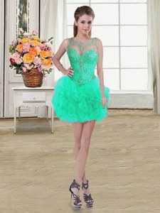 Tulle Scoop Sleeveless Lace Up Beading and Ruffles Prom Gown in Turquoise