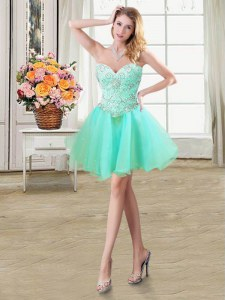 Comfortable Apple Green Sleeveless Beading Mini Length Prom Evening Gown