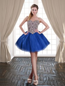 Stunning Mini Length Ball Gowns Sleeveless Royal Blue Cocktail Dresses Lace Up