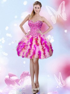 Spectacular Sweetheart Sleeveless Lace Up Club Wear Multi-color Tulle